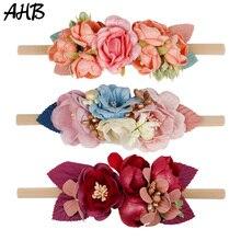 AHB 4.5 Newborn Nylon Headband Fake Flowers Hair Band for Girls Photography Props Elastic Head Headwear Accessories