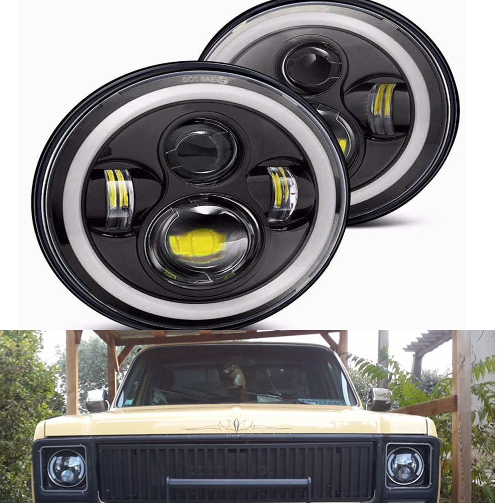"""Pair For Jeep JK Land Rover Defender 7"""" Inch LED Headlight"""