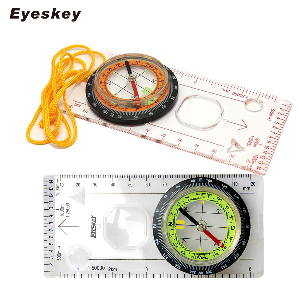 Eyeskey Outdoor Camping Suunnattu maastojuoksu Vaellus Special Compass Baseplate Ruler Map Scale Compass Night bussola