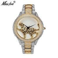 מיס פוקס יהלומים מלא הטוב ביותר של נשים מותגי שעונים קוורץ שעון זהב נשים האופנה קרטר מים עמידים פראיים גבירותיי שורש כף יד שעונים