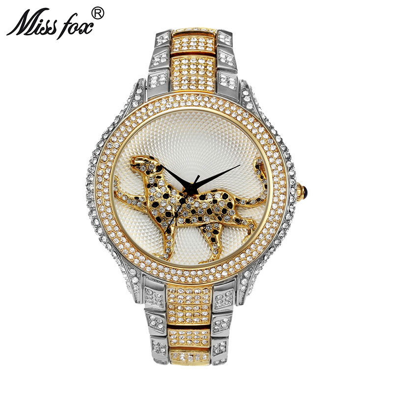 MISSFOX Full Diamond Best Womens Watch Brands Fashion Luxury Quartz Gold Watch Women Water Resistant Wild Ladies Wrist Watches