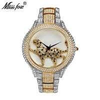 MISSFOX Full Diamond Best Womens Watch Brands Fashion Luxury Quartz Gold Watch Women Water Resistant Wild Ladies Wrist Watches