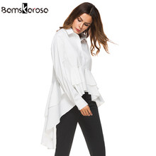 db4000e620 Elegante blanco camisa mujeres moda Tops 2018 otoño señoras Cascading  ruffle solapa manga larga blusa alta baja alta calidad