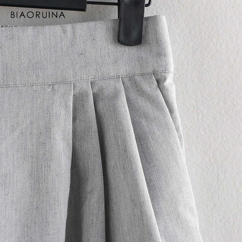 BIAORUINA Женские повседневные широкие брюки длиной до щиколотки женские хлопковые льняные универсальные брюки для девочек эластичные модные брюки с высокой талией