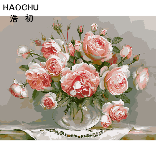 HAOCHU Abstract Pink Rose Flower Modern Wall Poster Acrylic Coloring ...