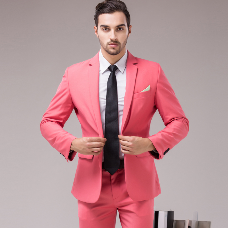 Plyesxale Brown Green Burgundy Black Pink Suits Men 2018 Brand Slim Fit Groom Wedding Suit Korean Fashion Party Prom Wear Q121