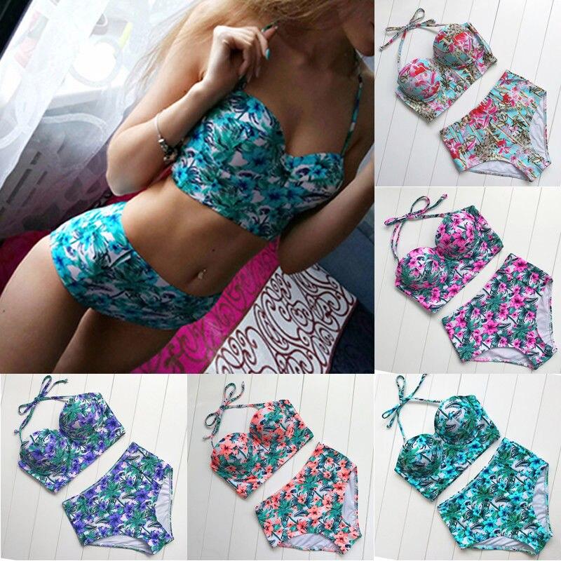 2018 High Waist Flower Bikini Set Plus Size Swimwar Women Push Up Padded Women Bathing Suit Summer Beach Swiming Wear Siwmsuit