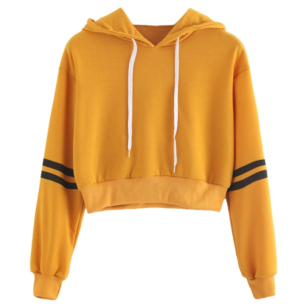 Womens Girls Long Sleeve Crop Top Short Hoodies Sweatshirt Striped Casual Pullover Loose New Streetwear Tracksuits Jumpers