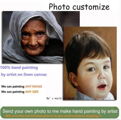 Monday Art oil paintings on Canvas Custom Painting Customize Portrait Oil Painting From Photo Wall Arts