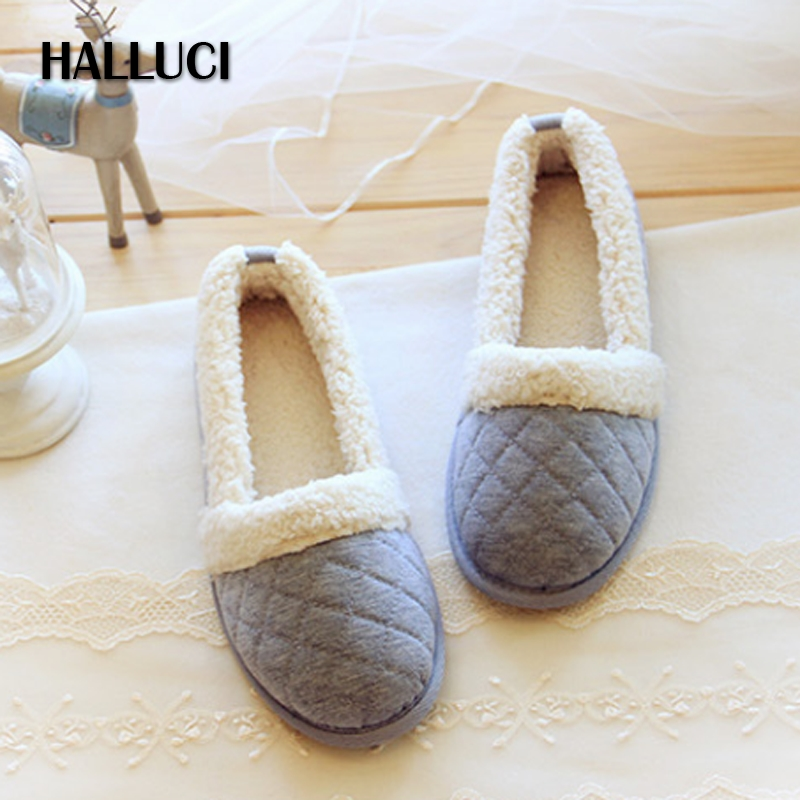 HALLUCI Japanese lamb's plush soft sole home slippers shoes women flats Christmas kawaii polar fleece indoor rubber slippers