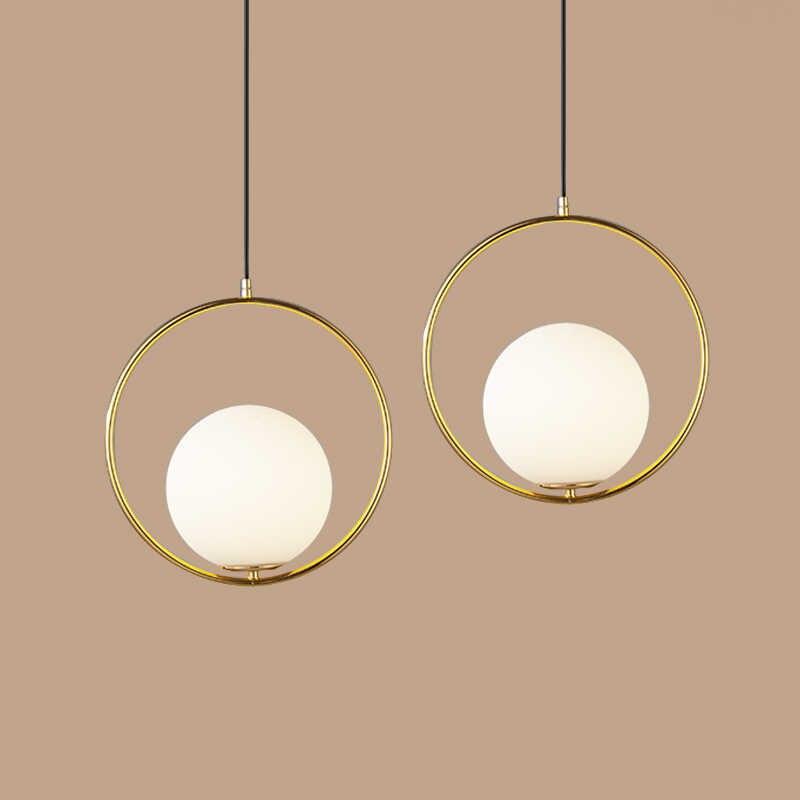 الحديثة الحديد قلادة عصابة أضواء الأبيض كرة زجاجية CafeRoom/مصباح إضاءة البار واحدة الزجاج مصابيح متدلية الديكور إضاءة داخلية E27