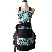 Flirty Women S Aqua Damask Ruffled Vintage Floral Kitchen Apron Cooking Cafe Salon Work
