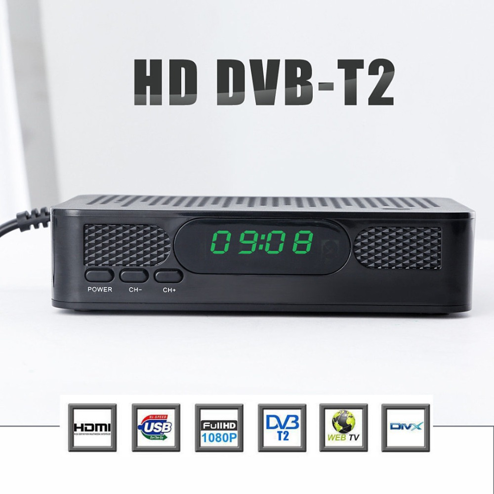 Vmade DVB T2 Bandwidth Full HD 1080p DVB T Digital TV Tuner Receptor MPEG4 MPEG2 H.264 Standard Terrestrial Receiver set top box-in Satellite TV Receiver from Consumer Electronics