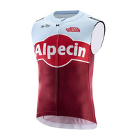 pro team alpecin red windproof cycling vest 3 pockets jersey wind vest windstopper clothing Bicycle maillot windbreaker
