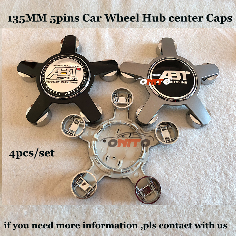 135MM 5Claw Clips Car Wheel hub center caps ABT Logo Auto emblem badge 4pcs set for