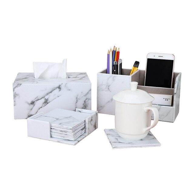 Fournitures de bureau en marbre PU cuir organisateur de bureau définit stylo porte-boîte de rangement boîte à mouchoirs tasse coaster 3 pièces/ensemble nouveauté 1