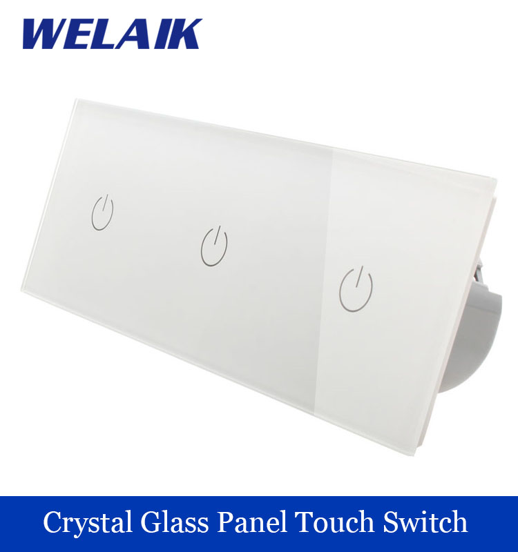 WELAIK 3 frame Crystal Glass Panel  White Black Wall Switch EU Touch Switch  Light Switch 1gang1way AC110~250V A39111111W/B 1 way 1 gang crystal glass panel smart touch light wall switch remote controller white black 160 250v ac