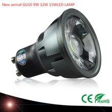 1pcs 슈퍼 밝은 디 밍이 가능한 gu10 cob 9 w 12 w 15 w led 전구 램프 ac110v 220 v 스포트 라이트 따뜻한 화이트/차가운 백색 led 조명