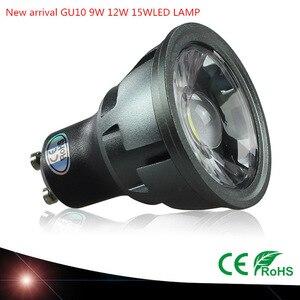 Image 1 - 1pcs 슈퍼 밝은 디 밍이 가능한 gu10 cob 9 w 12 w 15 w led 전구 램프 ac110v 220 v 스포트 라이트 따뜻한 화이트/차가운 백색 led 조명