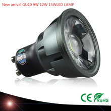 Lâmpada led super brilhante regulável gu10, 9w 12w 15w, holofote ac110v 220v, 1 peça iluminação led branca quente/fria