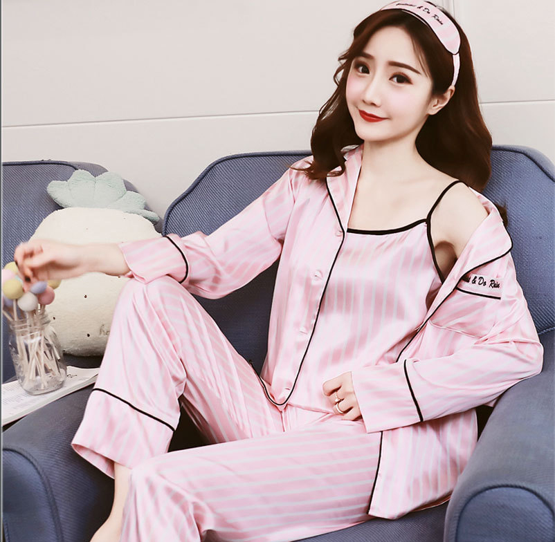 Queenral 7 Pieces Women\'s Pajamas Set Satin Silk Lingerie Sleepwear Pyjamas Set For Woman Home Clothes Nightgown Underwear