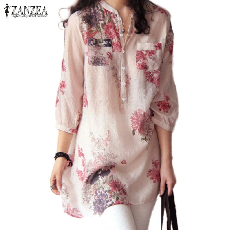 ZANZEA 2018 Summer Women Blusas Elegant 3/4 Sleeve Loose Casual Long Tops Vintage Floral Printed Blouses Shirts Plus Size