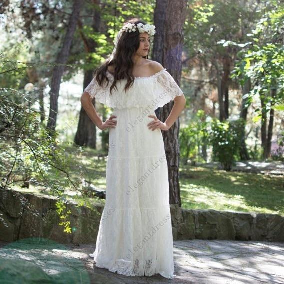 Summer Style Off Shoulder Bohemian Lace Wedding Dress