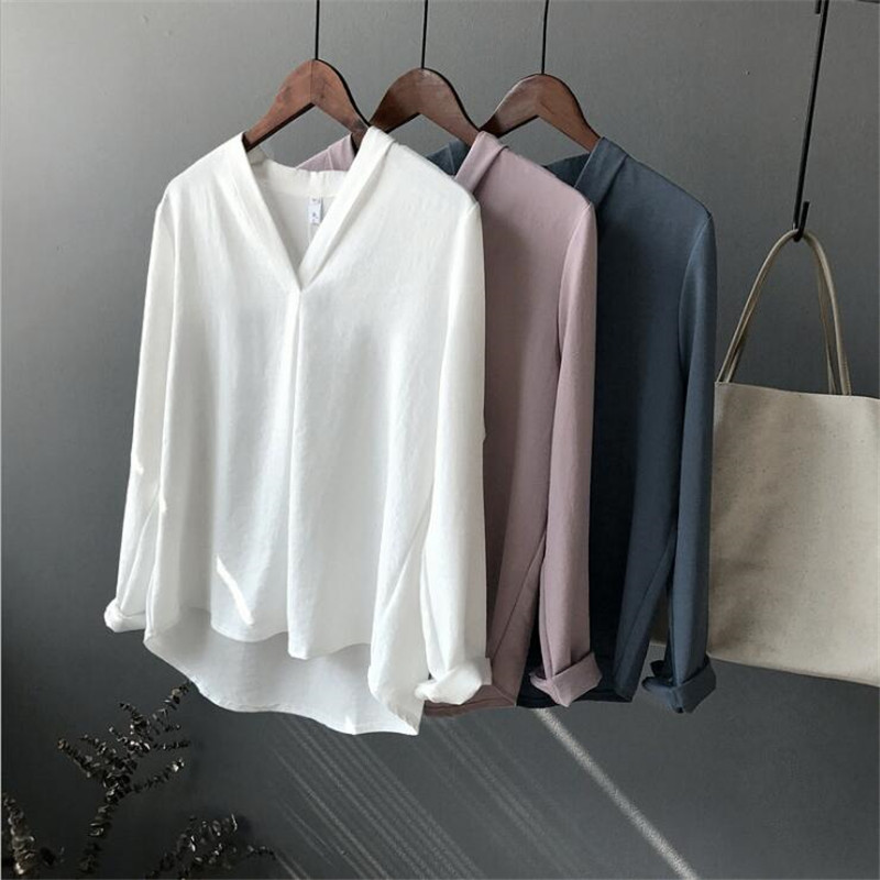 Casual Office Chiffon white Women   blouse     shirt   V-neck oversized Long sleeve loose   shirt   Working wear Ladies tops Blusas Mujer