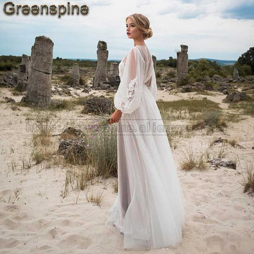 0d358114626a0 Boho Wedding Dress 2019 New Designer Sexy Women Beach Wedding Dresses Long  Sleeve Vintage Lace Appliques Bridal Gown Custom Made