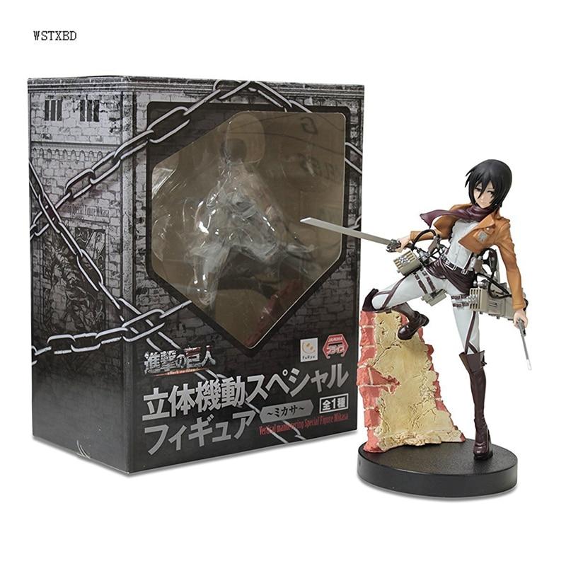 WSTXBD Original Furyu Attack on Titan Figure Mikasa Ackerman PVC Action Figure Toys Kids Brinquedos Dolls цена