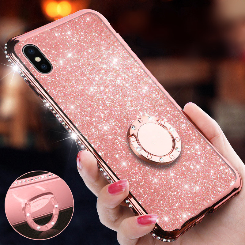 Glitter Diamond Magnetic Finger Ring Kickstand Case For iPhone XI XS Max XR 8 7 6S Plus Cover Phone Ring for iPhone X 11 XI Case iphone xr case magnetic