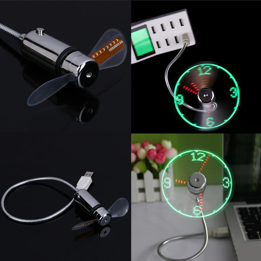 Hånd Mini USB Fan bærbare gadgets Fleksibel Gooseneck LED Klokke Cool For bærbar PC Notebook Real Time Display holdbar Justerbar