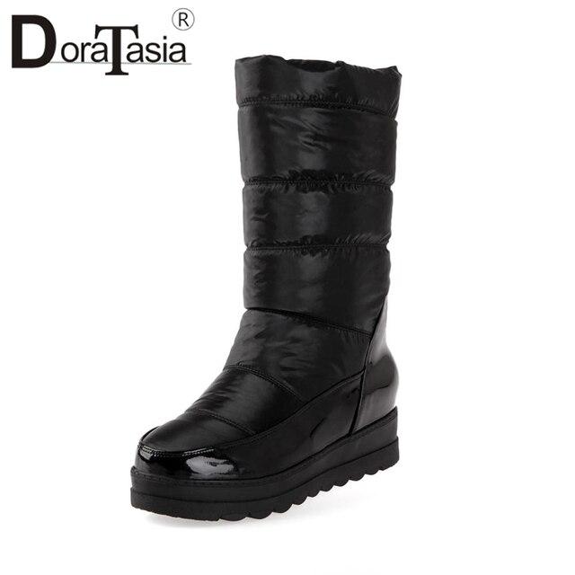 DORATASIA kobiety śnieg buty ciepłe futrzane buty kobieta Hidden Wedge buty na koturnie damskie wsuwane buty pół-knee wysokie obuwie rozmiar 34-40
