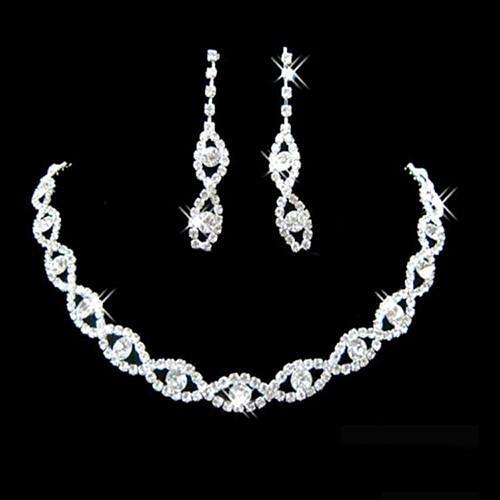 Necklace bridal wedding prom jewelry shiny elegant necklace earring set Wedding Jewelry Set
