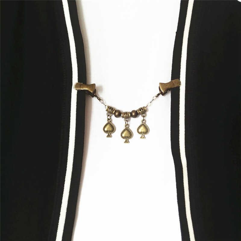 נשים שיק לב עץ קרדיגן סוודר קליפ תכשיטי בנות Vintage חרוזים שרשרת Cinch קליפ צעיף סיכת סיכת צווארון מעיל קייפ קליפ