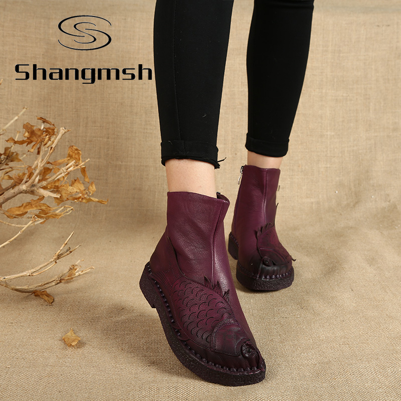 ФОТО New Arrival Fish Ankle Boots For Women Handmade Flat With Boots Shoe Folk Style Comfortable Casual Shoe  Women Snow Boots