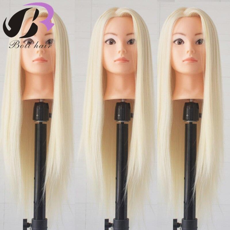 Bolihair 70cm Hairdresser Training Head High Temperature Fiber Female Dummy Head For Hairstyles Practice Hair Head Mannequin