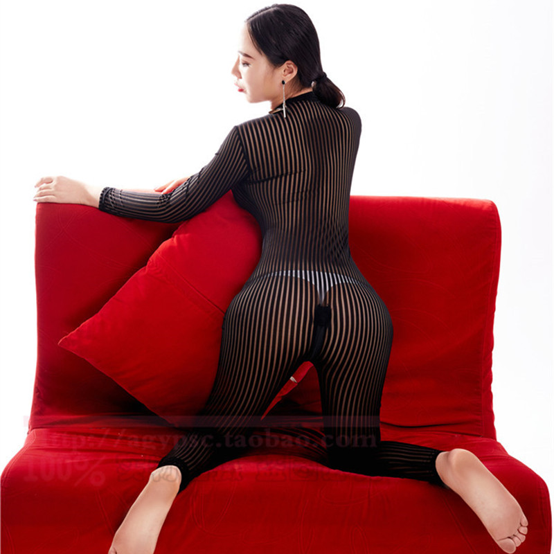 Buy Sexy Women Stripe Two Way Zipper Open Crotch Bust Transparent Bodysuit Turtleneck See Body Stockings Sexy Lingerie F40