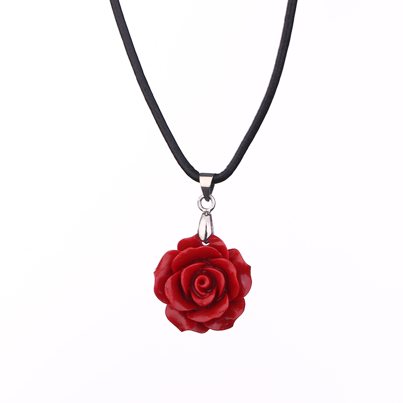 ZOURU Famous Brand New Hot High Quality Leather Chain Coral Red Tea Rose Flower Pendant Women Necklace Fashoin Jewelry Wholesale