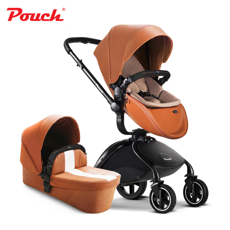Original Pouch  Hot Sale  0-4 Years Old Metal 3 In 1 Baby Stroller Leather folding baby pram independent sleeping basket hot hot sale baby stroller travel system baby wholesale and retail modern stroller red and green color pram is pneumatic tyre