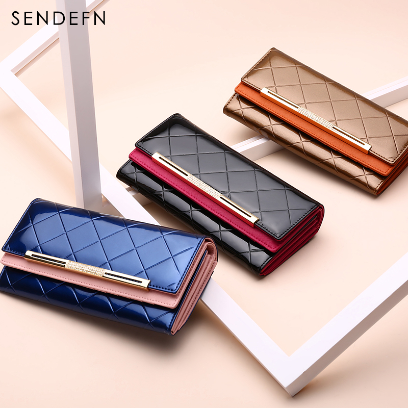 Sendefn Latest Luxury Wallet Female Leather Clutch Lady Party Purse Women Purse Women Long Coin Purse Card Holders wallets Gift