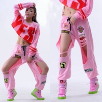New Fashion Women Pants Ds performance wear jazz Hip Hop dance costumes hiphop badge powder hole casual trousers