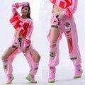 Novas Mulheres Da Moda Calças desgaste desempenho Ds jazz trajes de dança Hip Hop hiphop crachá buraco em pó calças casuais