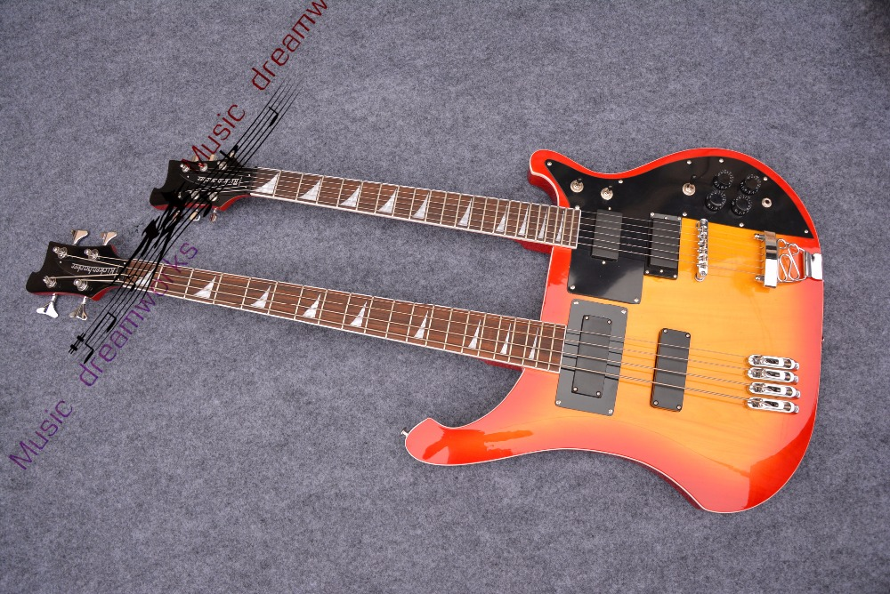 China OEM firehawk custom rick double neck 6 strings electric guitar+4 strings bass with 3 color can be chosen new electric bass neck custom 4 strings guitar necks made in china musical instruments