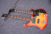 China OEM firehawk custom rick double neck 6 strings electric guitar+4 strings bass with 3 color can be chosen