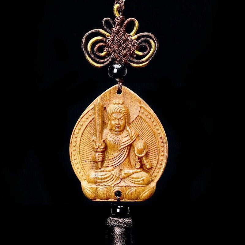 Chinese Wood Carving Acala Fudosan Acalanatha Statue Car Pendant Amulet