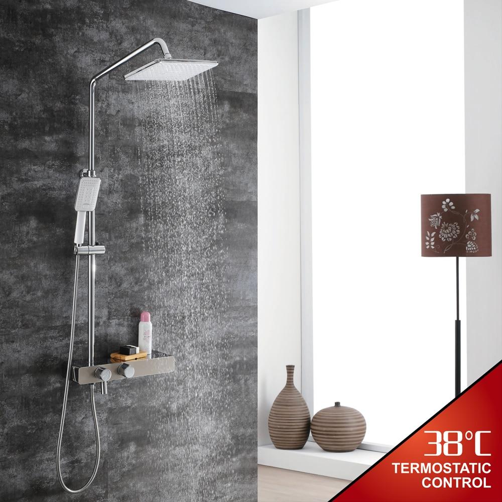 цена на HIDEEP Bathroom Rainfall Shower Faucet Set Single Handle Mixer Tap With Hand Sprayer Wall Mounted Thermostatic Bath Shower Sets