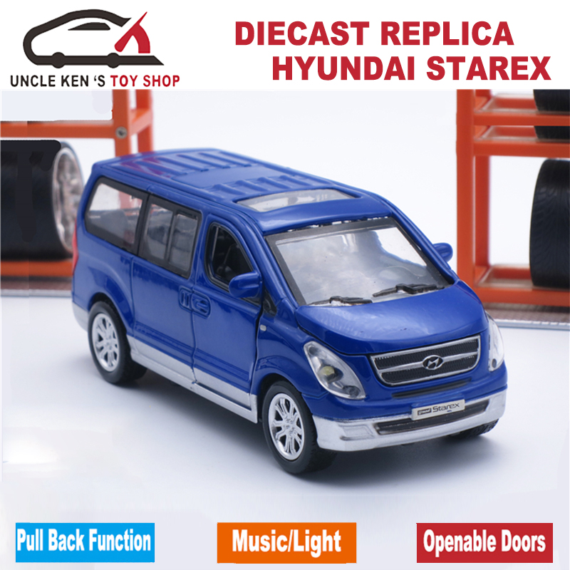 scale hyundai starex diecast model cars metal mini van kids toys with gift box and functions