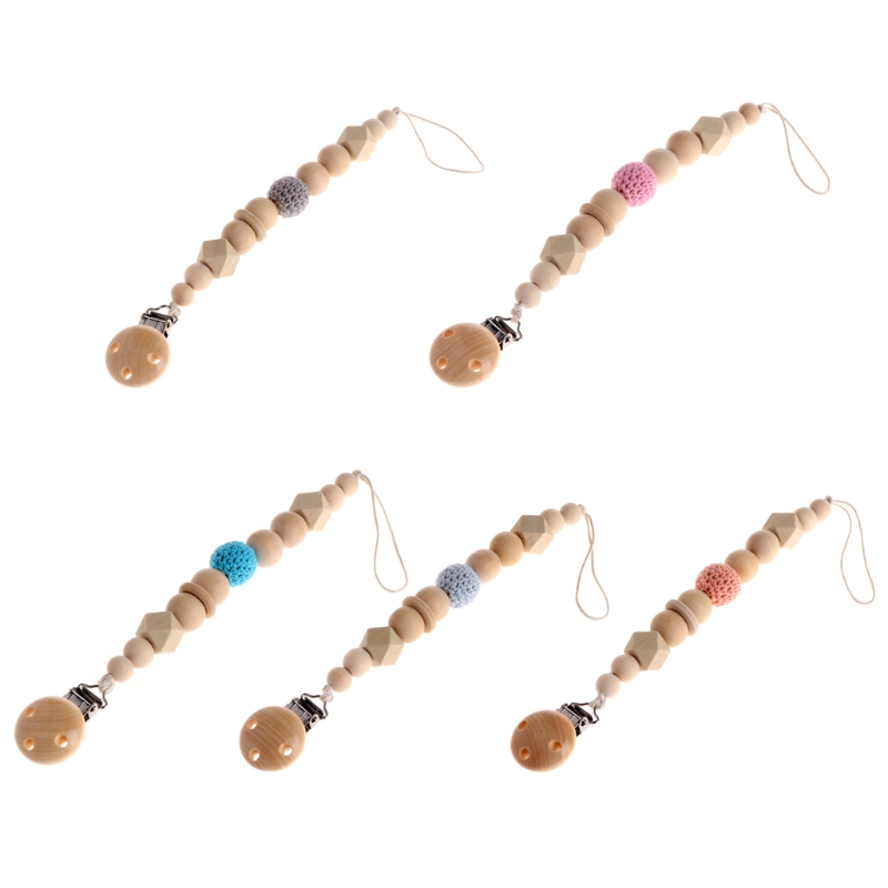 DIY Baby Infant Dummy Pacifier Soother Nipple Shield Wood Chain Clip Holder Gift