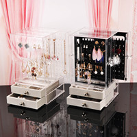 Behogar Necklace Earrings Display Stand Hanger Holder Jewelry Storage Case Box Organizer with 5 Drawers for Girls Women